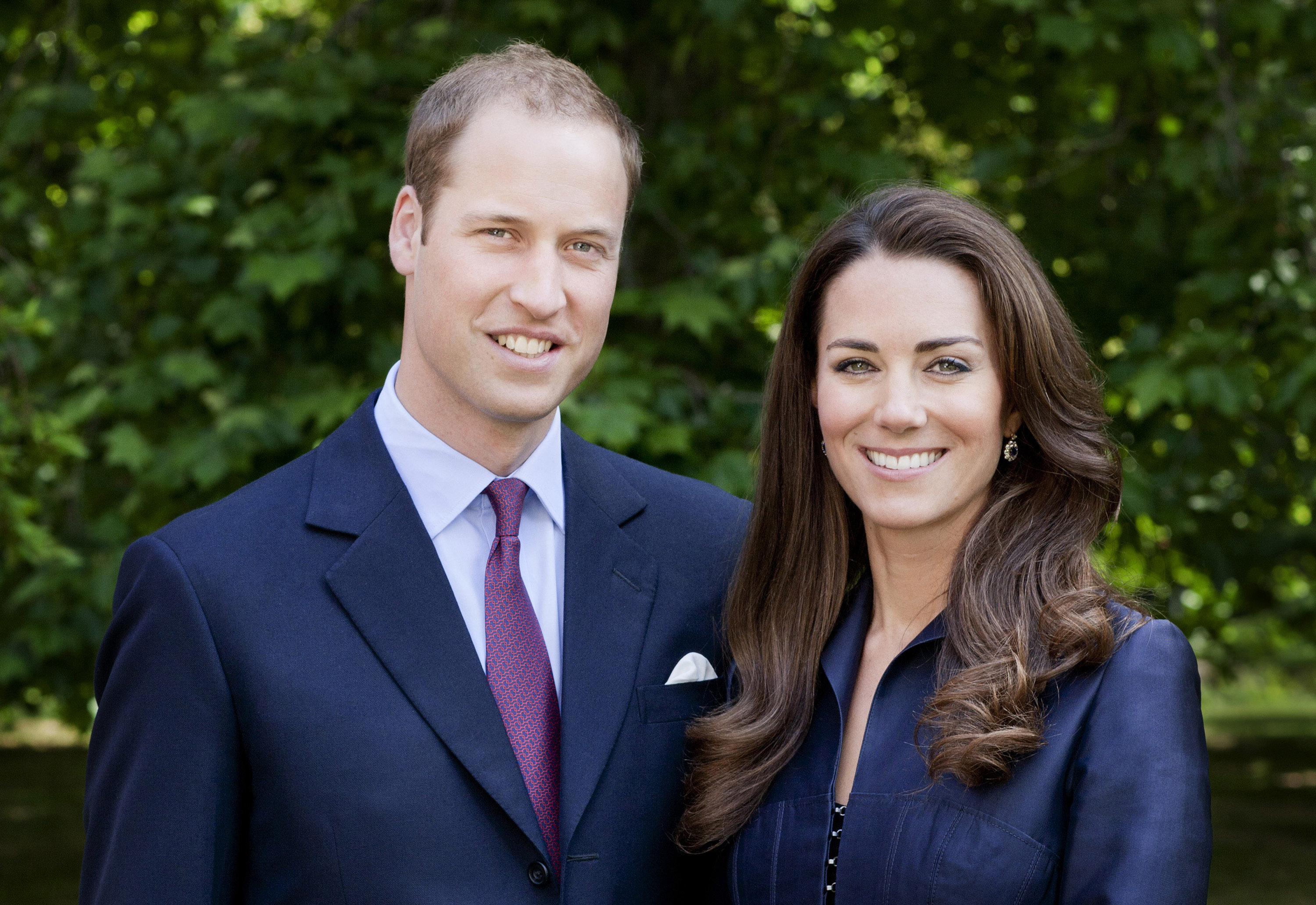 LONDON, UNITED KINGDOM - JUNE 3: (EDITORIAL USE ONLY) In this handout image supplied by St James's Palace, Prince William, Duke of Cambridge and Catherine, Duchess of Cambridge pose for the official tour portrait for their trip to Canada and California in the Garden's of Clarence House on June 3, 2011 in London. England. The newly married Royal Couple will be undertaking their first official joint tour to Canada and California from June 30th. The trip will begin with Canada Celebrations in Ottawa and include highlights such as the Calgary Stampede and a visit to Yellowknife. (Photo by Chris Jackson / Getty Images for St James's Palace)